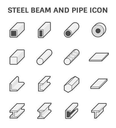 강철 파이프 및 빔 제품 건설 업계의 벡터 아이콘을 작동합니다. 일러스트