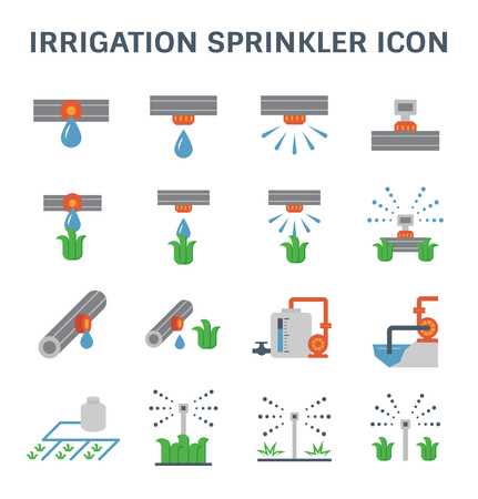 crop sprayer: Automatic water sprinkler and irrigation system for garden and lawn. Illustration