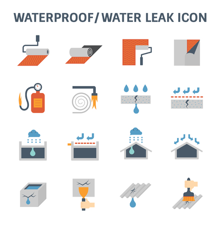 Waterproofing and water leaked vector icon set design.