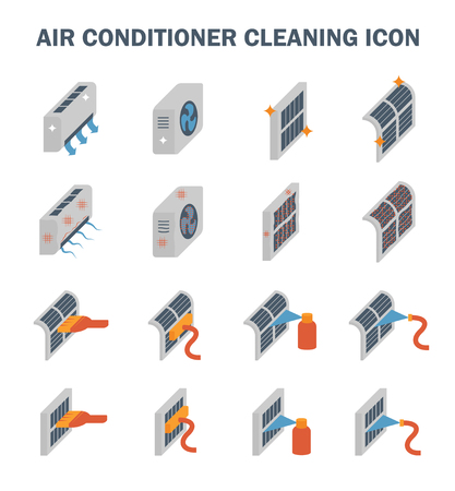 maintenance work: Air conditioner air compressor and air filter cleaning vector icon set design. Illustration