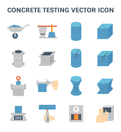 Vector icon of concrete strength testing and laboratory for construction quality conctrol. Illustration