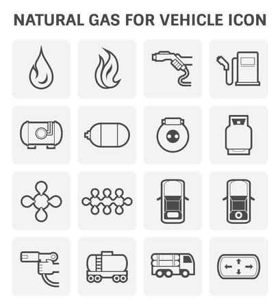 lpg: Tank and transportation icon of natural gas vehicle and  liquefied petroleum gas.