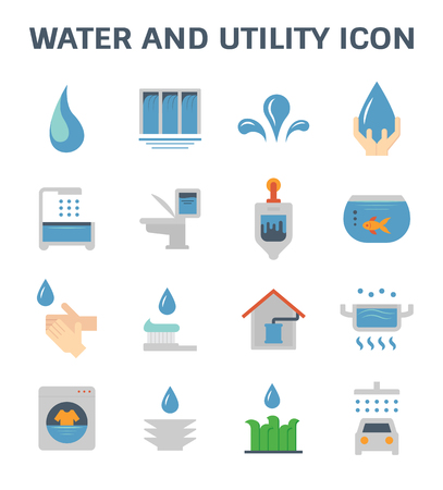 Water usage and utility vector icon set design. Vektorové ilustrace