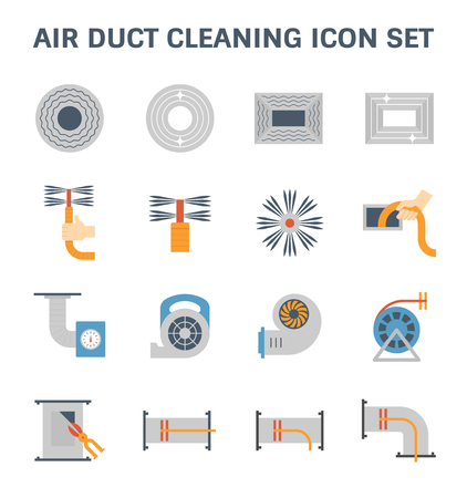 Air duct pipe cleaning vector icon set.
