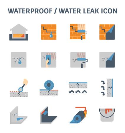 방수 및 물 누수 벡터 아이콘 세트 디자인. 스톡 콘텐츠 - 80041415