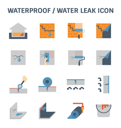 Waterproofing and water leak vector icon set design.