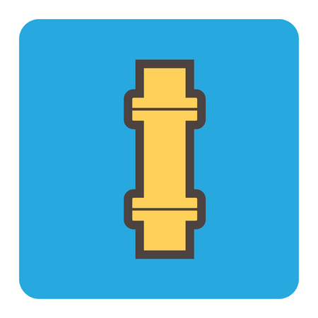 Vector icon of steel pipe connector for plumbing and piping work.
