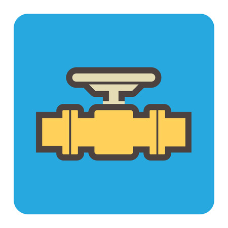 Vector icon of steel pipe connector and valve for plumbing and piping work.