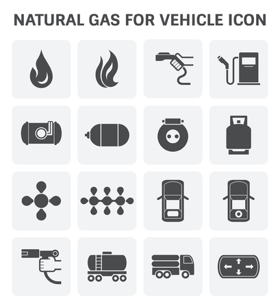 Tank and transportation icon of natural gas vehicle and  liquefied petroleum gas.
