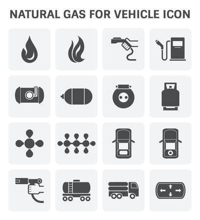 Tank- en transportpictogram van een aardgasvoertuig en vloeibaar petroleumgas. Stock Illustratie