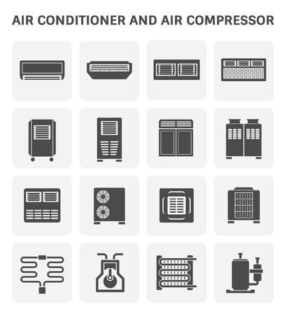 Vector icon of air conditioner and air compressor part of hvac system. Ilustração