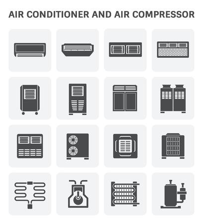 Wektor ikona klimatyzatora i części sprężarki powietrza systemu hvac.
