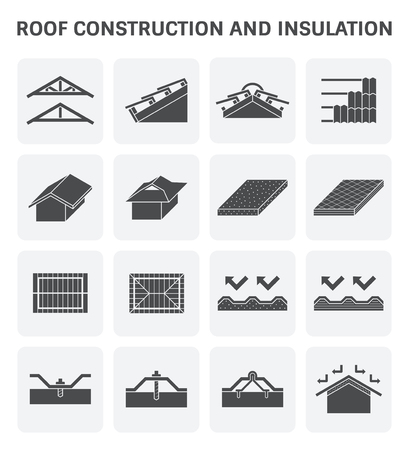Costruzione di costruzione e isolamento isolante per l & # 39 ; icona di vettore di costruzione