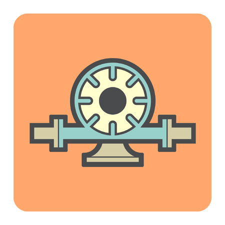 agricultural engineering: Vector icon of electric water pump and steel pipe for water distribution. Illustration