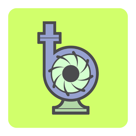 Vector icon of electric water pump and steel pipe for water distribution. Illustration