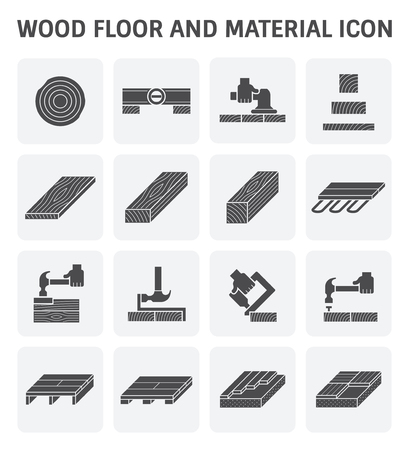 flooring: Wood floor and material vector icon set design.