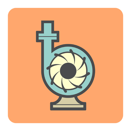 sewage system: Vector icon of electric water pump and steel pipe for water distribution. Illustration