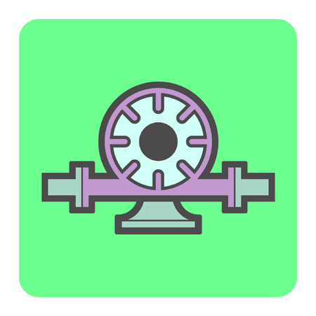 sewer: Vector icon of electric water pump and steel pipe for water distribution. Illustration