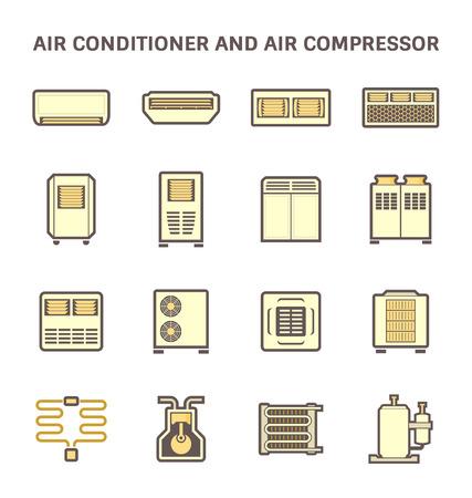 Vektor-Symbol der Klimaanlage und Luft-Kompressor Teil der Hvac-System.