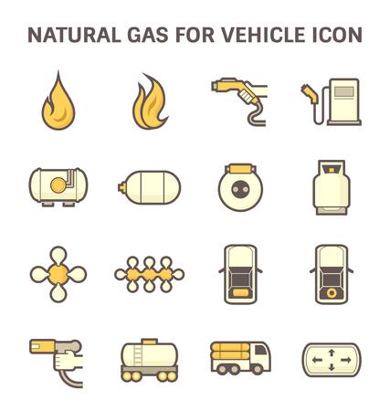 Tank and transportation icon of natural gas vehicle and liquefied petroleum gas. Vektoros illusztráció