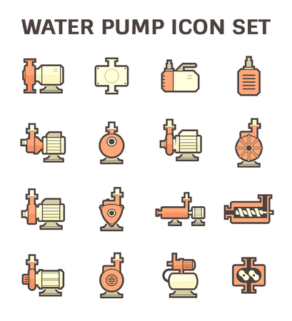 sewage system: Vector icon of electric water pump and steel pipe for water distribution isolated on white background.