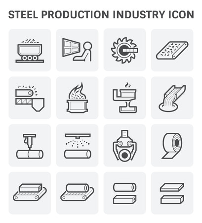 Industria di produzione di acciaio e metallo o set di icone vettoriali di metallurgia.