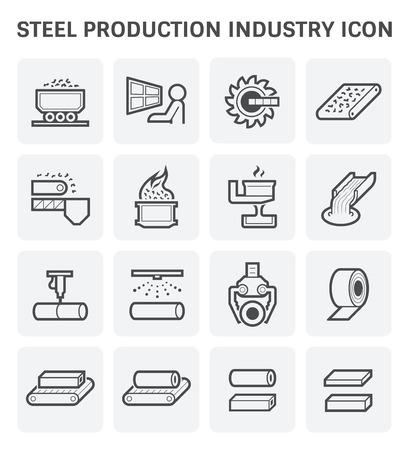Staal- en metaalproductie industrie of metallurgie vector icon set ontwerp.