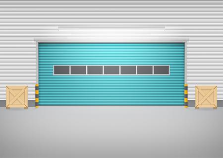 Vecteur de porte à volet roulant et sol en béton en dehors du bâtiment d'usine pour un fond industriel.