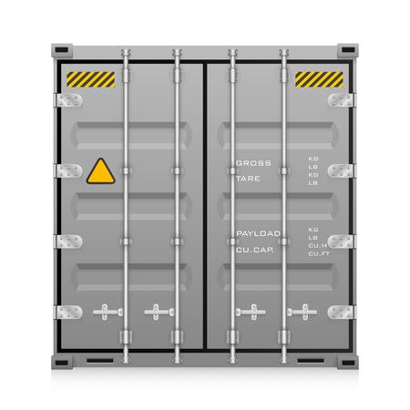 Vector van ladingscontainer voor het verschepen en vervoerswerk op witte achtergrond wordt geïsoleerd die.