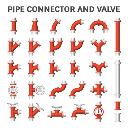 sewage: Steel pipe connector or steel pipe fitting and meter for plumbing and piping work. Illustration