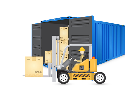 unloading: Forklift working with cargo container and product carton box isolate on white background for shipping and transportation concept.