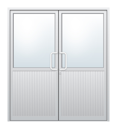 chrome: Vector illustration of aluminium door and chrome door handle and glass isolated on white background.