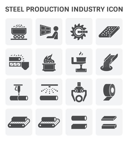 철강 및 금속 생산 산업 또는 야 금 벡터 아이콘 세트 디자인을 설정합니다. 일러스트