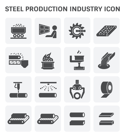 Steel and metal production industry or metallurgy vector icon set design.