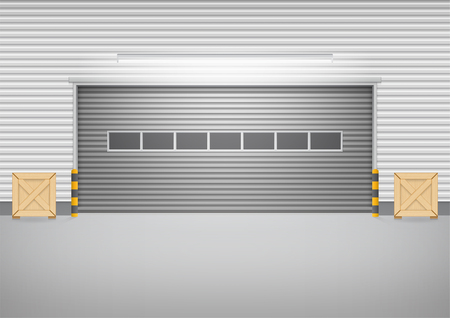 warehouse building: Vector of roller shutter door and concrete floor outside factory building for industrial background.