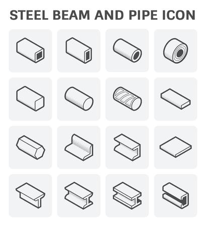 Icône vectorielle de tubes en acier et de produits de faisceau pour le travail de l'industrie de la construction. Vecteurs