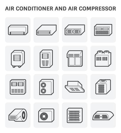 Vectorpictogram van airconditioner en luchtcompressordeel van hvacsysteem.