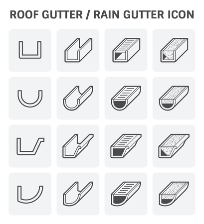 Gutter Roof: Roof Gutter For Drainage System Vector Icon Set Design.