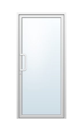 office building: Vector illustration of aluminium door and chrome door handle and glass isolated on white background.