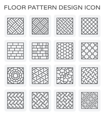 Vector line icon of floor pattern design. Illustration