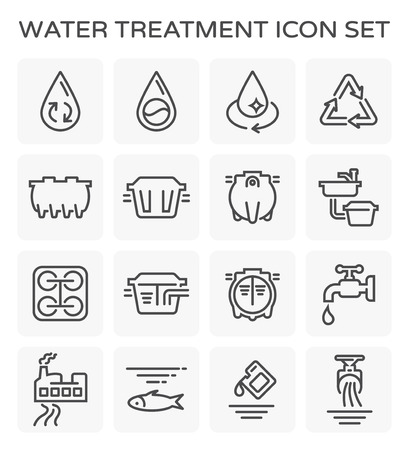 Vector line icon of water treatment plant and septic tank.