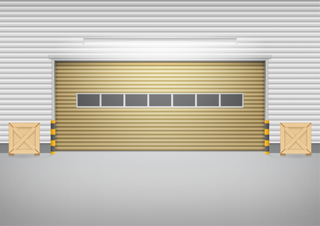 Vector van rolluikdeur en concrete vloer buiten de fabrieksbouw voor industriële achtergrond.