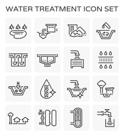 Icône de ligne de vecteur du système de traitement de l'eau et filtre à eau.