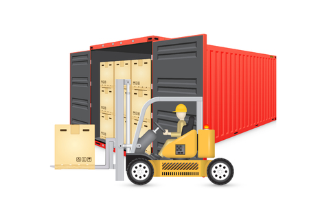moving box: Forklift working with cargo container and product carton box isolate on white background for shipping and transportation concept.