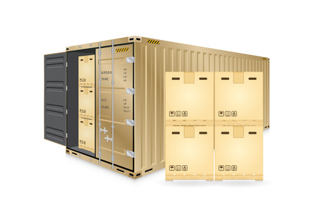 heavy industry: Vector of cargo container or shipping container for logistics and transportation work isolated on white background.