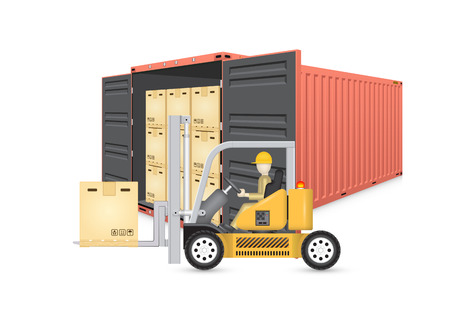 storage: Forklift working with cargo container and product carton box isolate on white background for shipping and transportation concept.