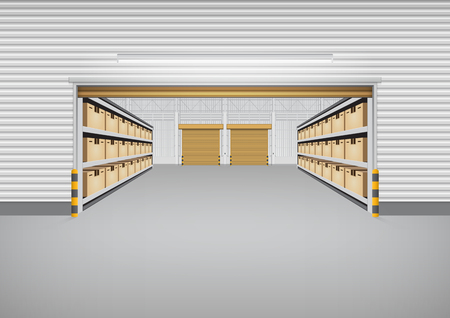 Un vecteur de bâtiment d'usine ou de bâtiment d'entrepôt avec le plancher en béton pour l'arrière-plan de l'industrie. Vecteurs
