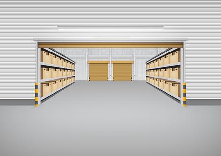 Wektor budynku fabryki lub budynku magazynu z betonową podłogą na tle przemysłu. Ilustracje wektorowe