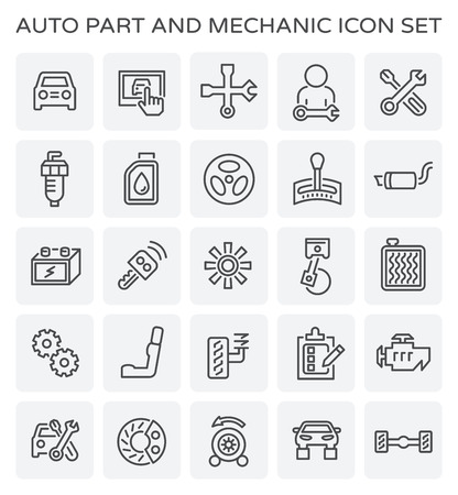 A Vector line icon of car part and mechanic.