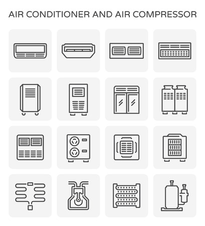 Vector icon of air conditioner and air compressor part.